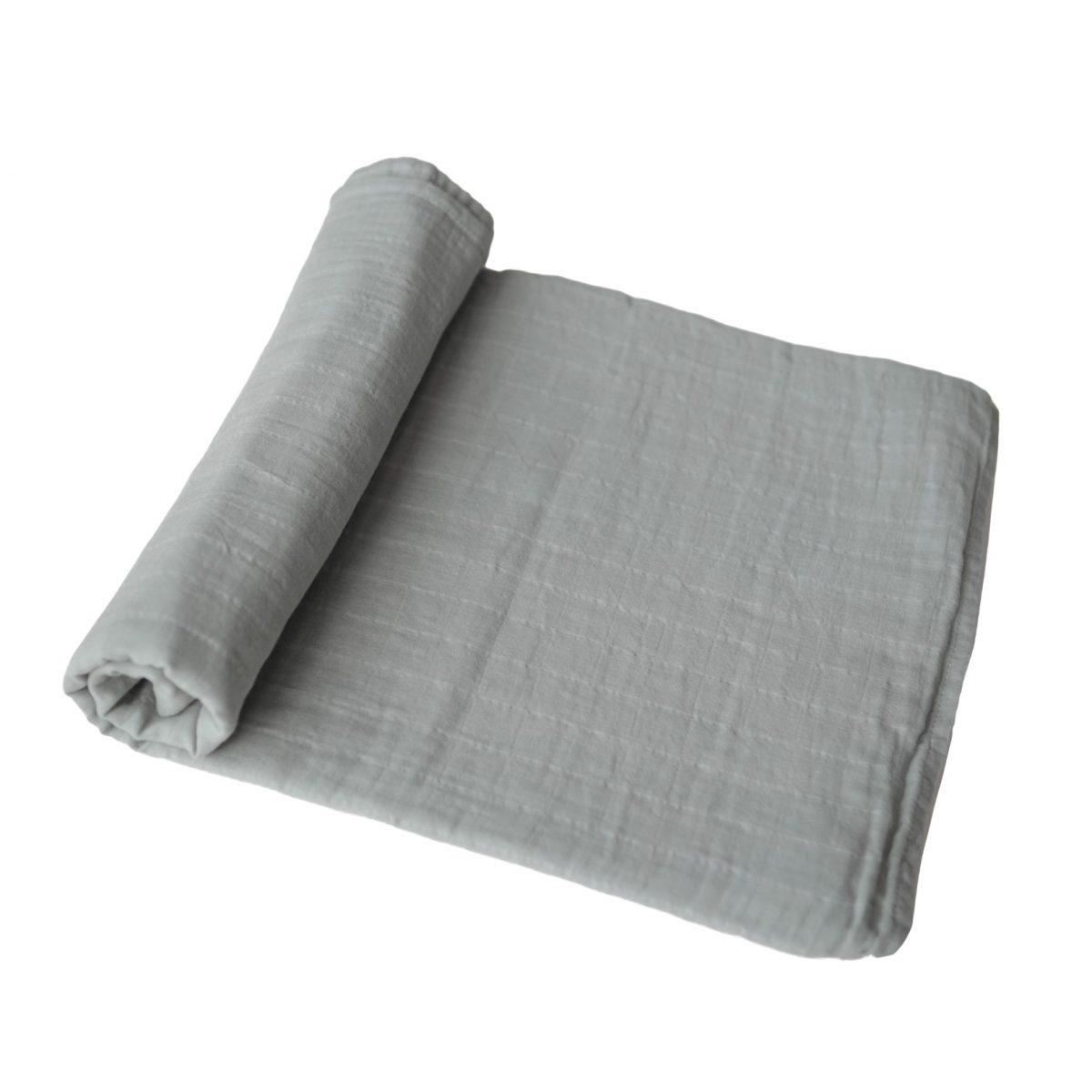 Mushie Swaddle Blanket Belgian Grey