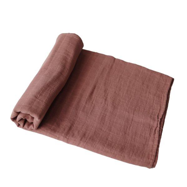 Mushie Swaddle Blanket - Cognac