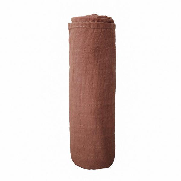 Mushie Swaddle Blanket - Cognac alt