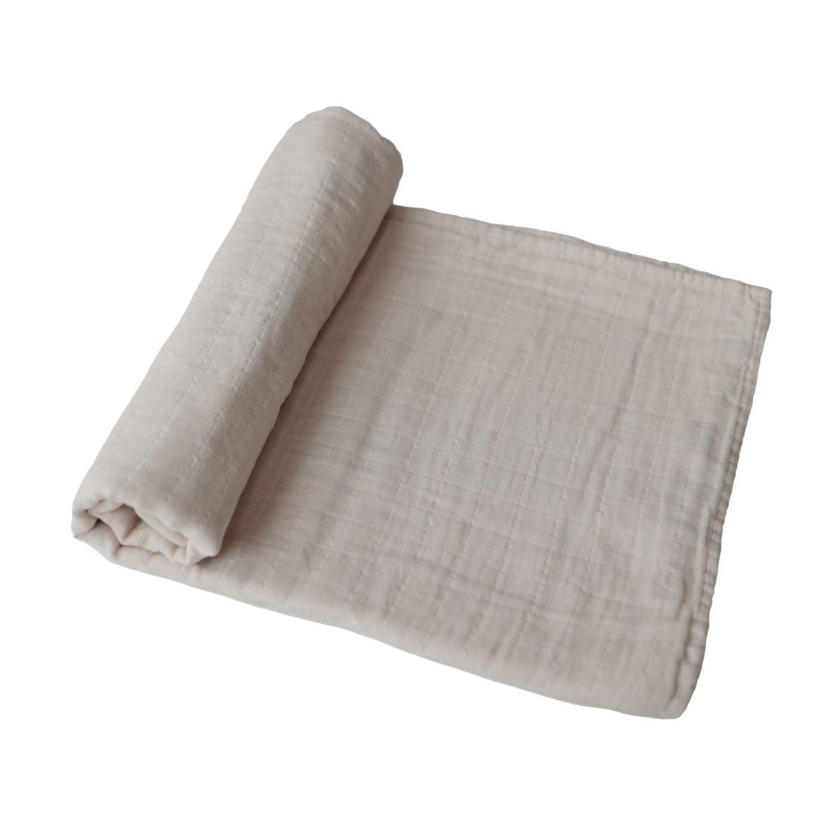 Mushie Swaddle Blanket - Fog