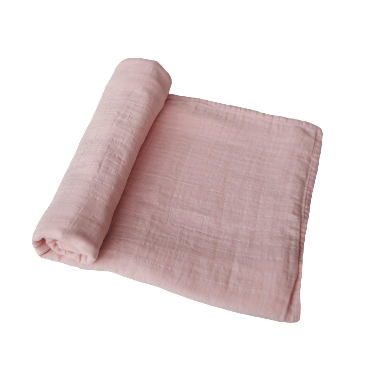 Mushie Swaddle Blanket - Rose Vanilla