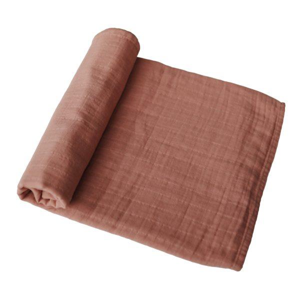 Mushie Swaddle Blanket Tawny Birch