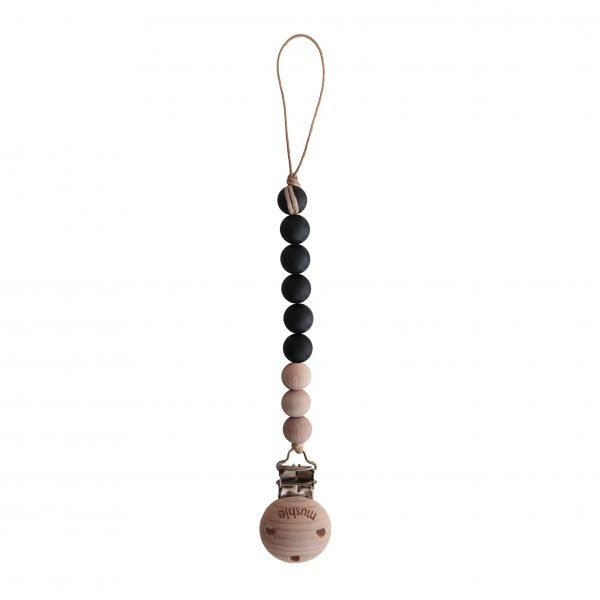 Mushie Pacifier Clip Cleo Black