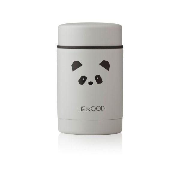 Liewood Nadja wood jar Panda Light Grey