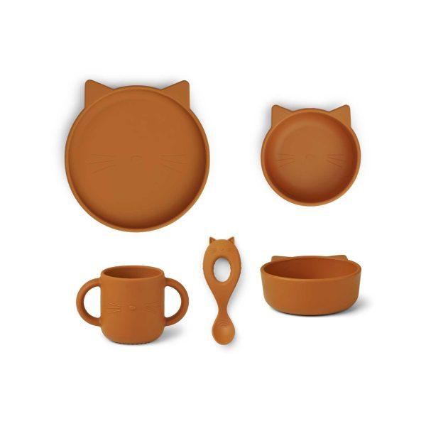 Liewood Set Vivi Dinnerware Cat Mustard